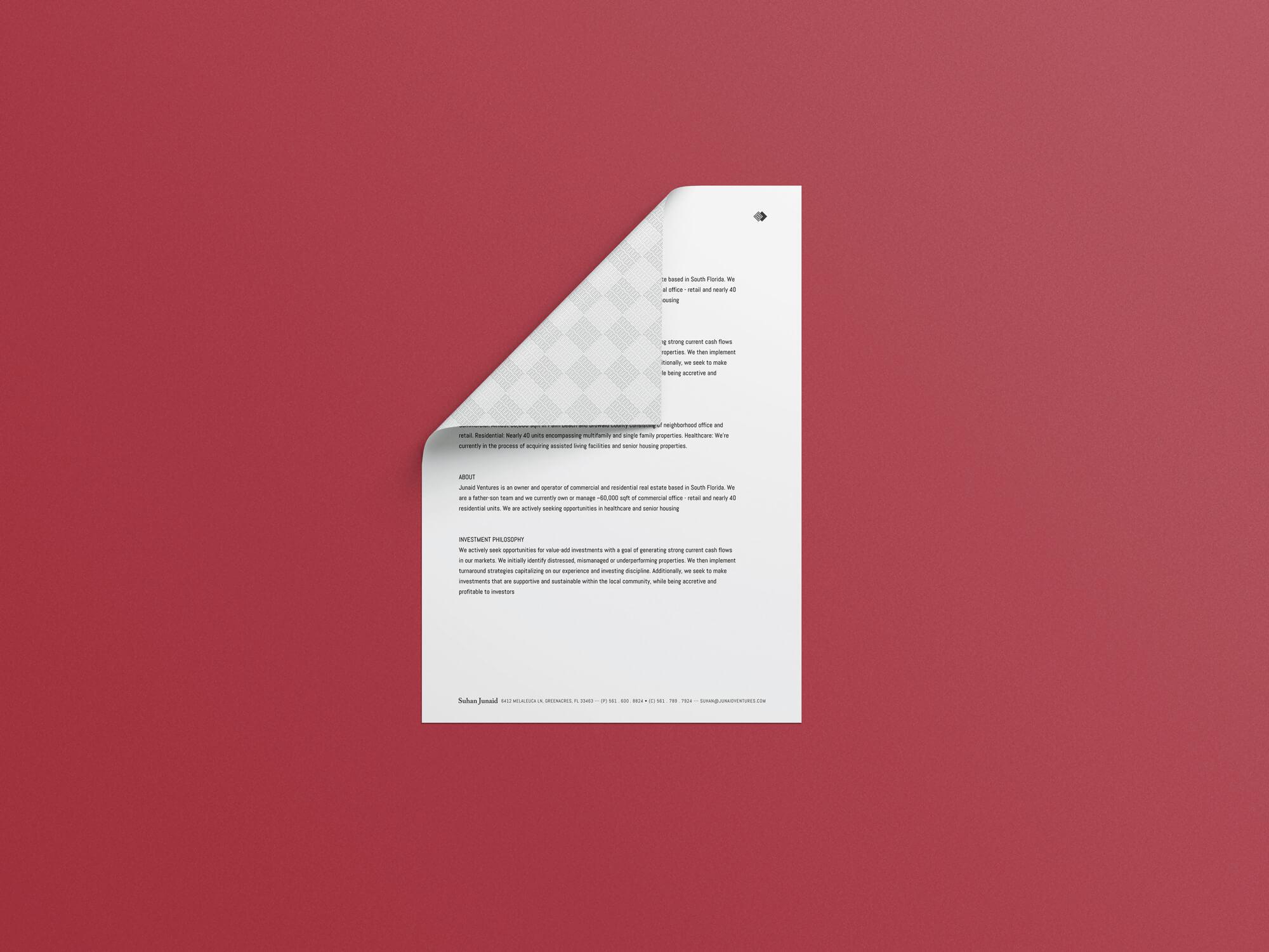 Junaid Ventures – Letterhead
